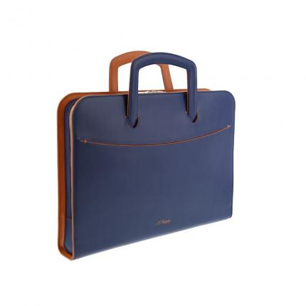 Porte document plat Line D Slim Cuir bleu-orange